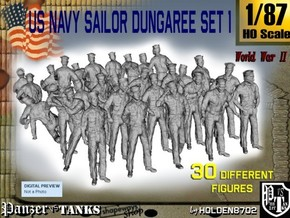 1/87 US Navy Dungaree Set 1 in Smooth Fine Detail Plastic