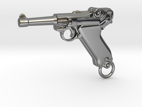 Luger Gun in Fine Detail Polished Silver