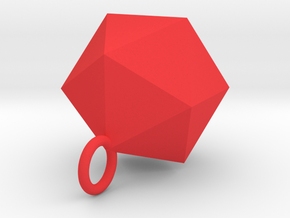 Icosahedron Pendant in Silver Gold and Steel  in Red Processed Versatile Plastic