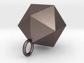 Icosahedron Pendant in Silver Gold and Steel  in Polished Bronzed Silver Steel