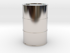 Oil Barrel 1/45 in Rhodium Plated Brass