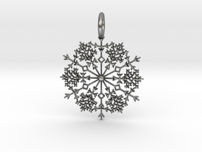 Winter Snowflake Pendant in Natural Silver