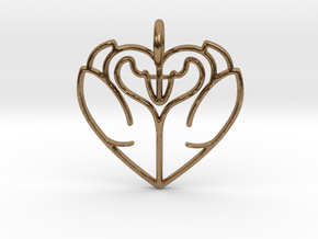 Swan Heart Pendant in Natural Brass