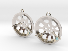 "Double Seconds ""essence"" steelpan earrings, S in Rhodium Plated Brass"