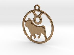 Taurus Zodiac Pendant in Raw Brass