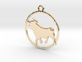Taurus Pendant in 14k Gold Plated Brass