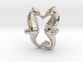 'Hippocampus Love' (Seahorse) LOVE Pendant, Charm in Platinum