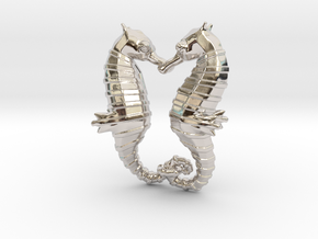 'Hippocampus Love' (Seahorse) LOVE Pendant, Charm in Rhodium Plated Brass