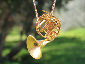 French Horn Pendant in 18k Gold Plated Brass