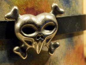 Skullheart in Polished Bronzed Silver Steel
