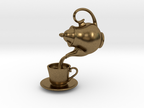 Teapot and Cup Pendant in Natural Bronze