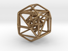 """Nested Platonic Solids 1.4"""" in Natural Brass"""