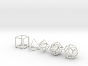 Platonic Solids (set of 5) in White Natural Versatile Plastic