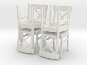 IKEA Ingolf Chair Set of 4 in White Strong & Flexible: 1:24