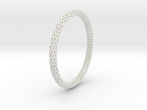 Hex Ring Bangle in White Natural Versatile Plastic