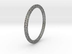 Hex Ring Bangle in Natural Silver