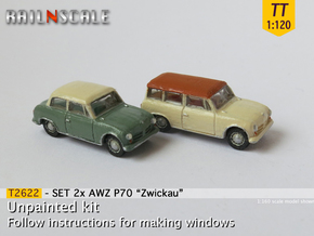 SET 2x AWZ P70 Zwickau (TT 1:120) in Smooth Fine Detail Plastic