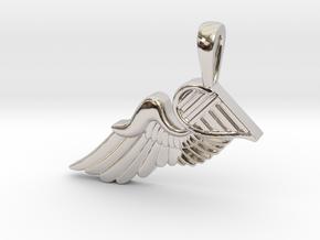 The Broken Wing in Rhodium Plated Brass