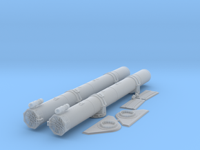 1/24 Torpedo Tubes (forward pair) for PT Boats in Smooth Fine Detail Plastic