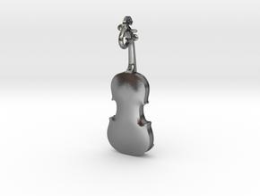 Violin Pendant in Polished Silver