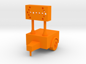 Construction Arrow - Trailer - 'O' 48:1 Scale in Orange Strong & Flexible Polished