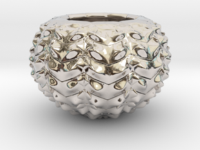 Hard Shred Cup/Vase/Sculpture in Rhodium Plated Brass