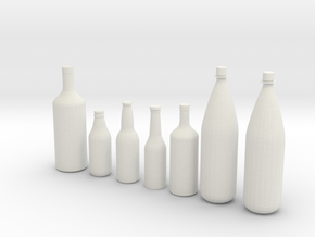 1/24 1/25 Beer bottles for display or diorama in White Strong & Flexible