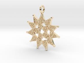 Pediastrum Algae pendant - Science Jewelry in 14K Yellow Gold