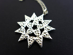 Pediastrum Algae pendant - Science Jewelry in Polished Silver