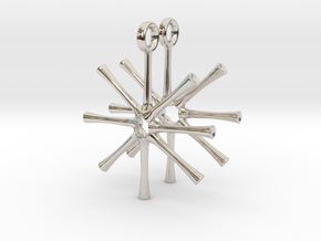 Asterionella Diatom Earrings - Science Jewelry in Rhodium Plated Brass