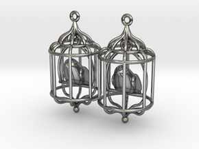Bird in a Cage 02 in Polished Silver (Interlocking Parts)