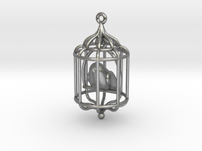 Bird in a Cage Pendant 02 in Natural Silver (Interlocking Parts)