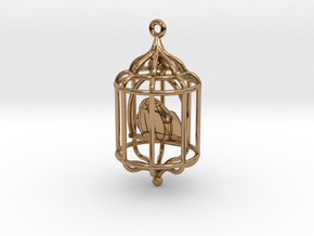 Bird in a Cage Pendant 02 in Polished Brass (Interlocking Parts)