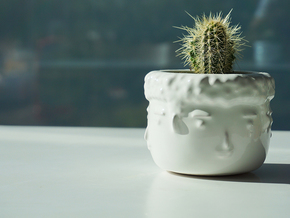 4 Face Plant Pot in Gloss White Porcelain