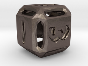 Rough Poly D6 in Polished Bronzed Silver Steel