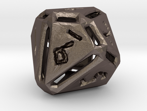 Rough Poly D10 in Polished Bronzed Silver Steel