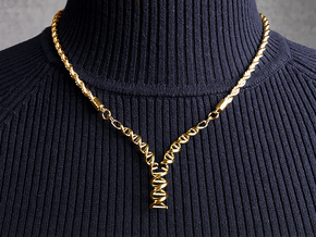 Replicating DNA Pendant in 14k Gold Plated Brass