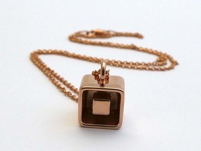 Levitation Cube Pendant in 14k Rose Gold Plated