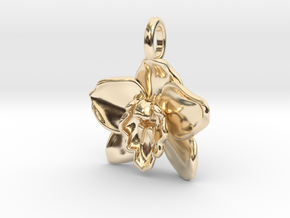 Cymbidium Boat Orchid Pendant in 14k Gold Plated Brass