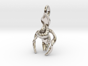 Lady's Slipper Orchid Pendant - Nature Jewelry in Rhodium Plated Brass