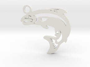 Trout Pendant in White Strong & Flexible