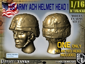 1/16 US Army ACH HELMET Head 1 in Smooth Fine Detail Plastic
