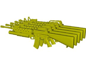 1/18 scale Colt M-16A1 & M-203 rifles x 5 in Smooth Fine Detail Plastic