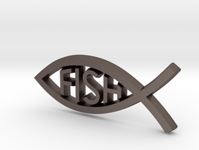 Literal Fish Emblem in Polished Bronzed Silver Steel: Small