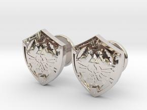 Hylian Shield Cufflinks in Rhodium Plated Brass