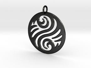 Waves Pendant in Matte Black Steel