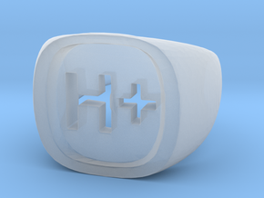 """Transhumanist """"H Plus"""" Ring in Smooth Fine Detail Plastic: 8.5 / 58"""