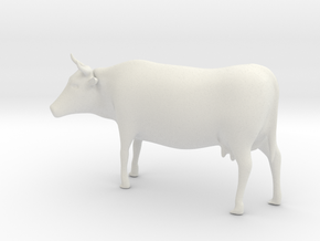 Cow 01. 1:43 scale in White Strong & Flexible
