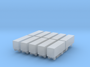 28 Foot Box Trailer - Set of 10 - 1:700scale in Frosted Ultra Detail
