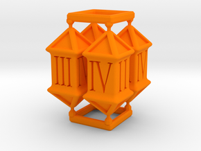 D4 x 4 (Roman Numerals) in Orange Processed Versatile Plastic